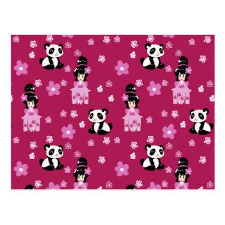 Pink Geisha Panda Flower Pattern Postcards