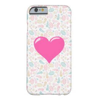 Pink Gel Heart on Pretty Pattern Barely There iPhone 6 Case
