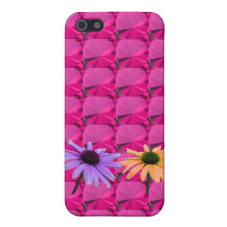 pink gem stones and daisy flowers cover for iPhone SE/5/5s