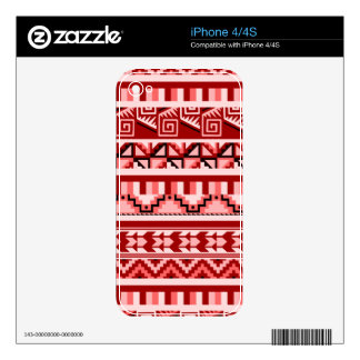 Pink Geometric Abstract Aztec Tribal Print Pattern iPhone 4 Decal