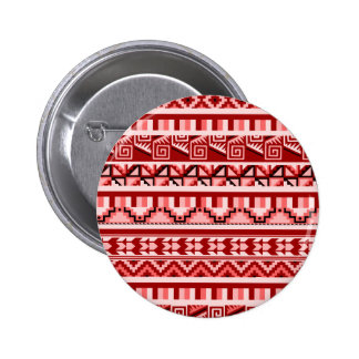 Pink Geometric Abstract Aztec Tribal Print Pattern Pinback Button