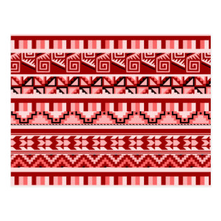 Pink Geometric Abstract Aztec Tribal Print Pattern Postcard