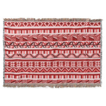Pink Geometric Abstract Aztec Tribal Print Pattern Throw Blanket