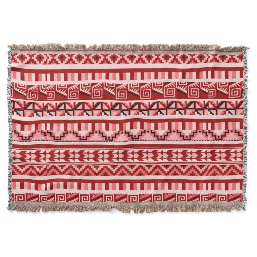 Pink Geometric Abstract Aztec Tribal Print Pattern Throw Blanket