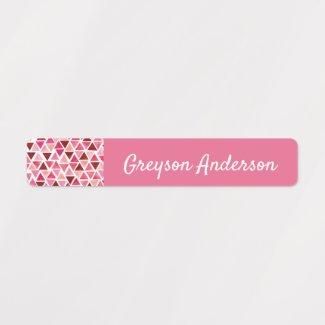 Pink Geometric Confetti Kids Label Skinny