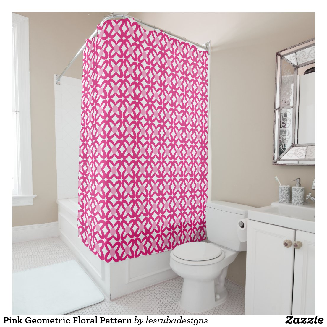 Pink Geometric Floral Pattern Shower Curtain