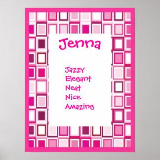 Pink Geometric Girls Any Name Art Print