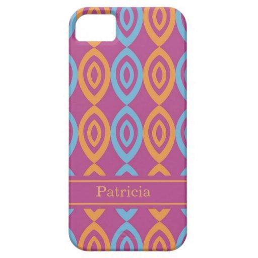 Pink Geometric Pattern - Custom Name iPhone SE/5/5s Case