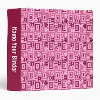 Pink Geometric Retro Pattern 3 Ring Binder