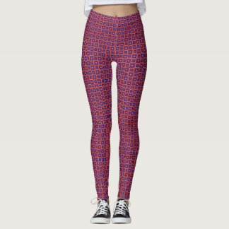 Pink Geometric Squares Leggings