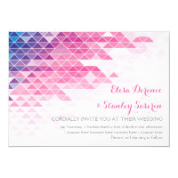 Pink geometric triangles modern wedding card