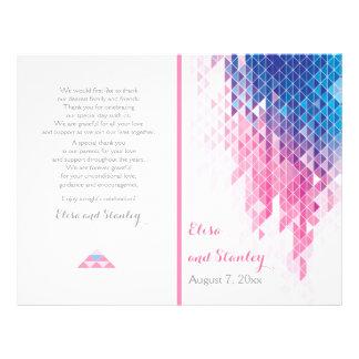 Pink geometric triangles modern wedding program