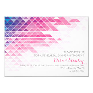 Pink geometric triangles wedding rehearsal dinner card