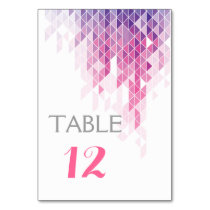 Pink geometric triangles wedding table number table cards