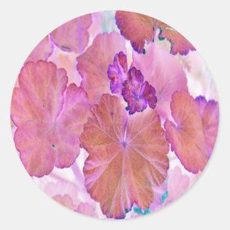 Pink Geranium Leaves Classic Round Sticker