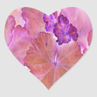 Pink Geranium Leaves Heart Sticker