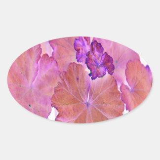 Pink Geranium Leaves Oval Sticker