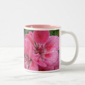 Pink Geranium Petals Two-Tone Coffee Mug