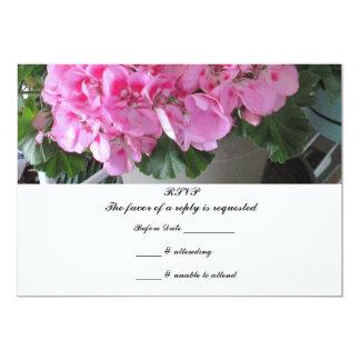 Pink Geranium RSVP Reply 5x7 Paper Invitation Card