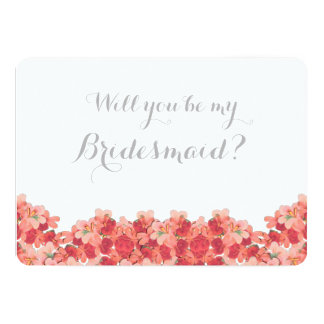 Pink Geranium Will You Be My Bridesmaid 5x7 Paper Invitation Card