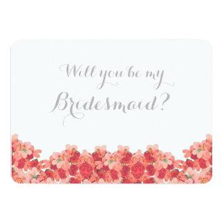 Pink Geranium Will You Be My Bridesmaid Card