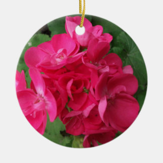 Pink Geraniums Ceramic Ornament