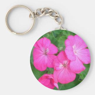 Pink Geraniums Keychain