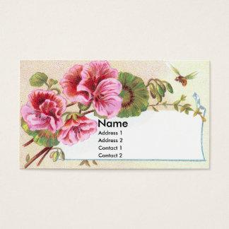 Pink Geraniums Victorian Trade Card