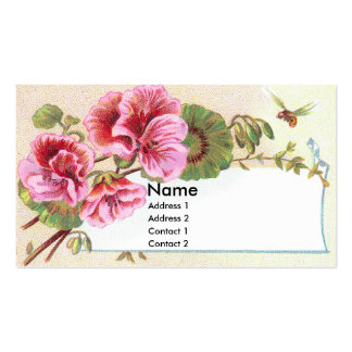 Pink Geraniums Victorian Trade Card Double-Sided Standard Business Cards (Pack Of 100)