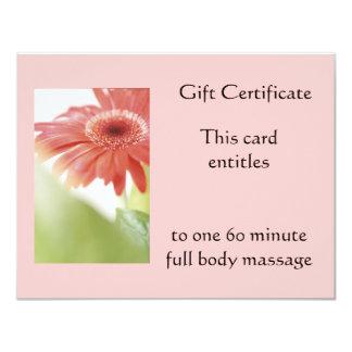 Pink Gerbena Gift Certificate 4.25x5.5 Paper Invitation Card