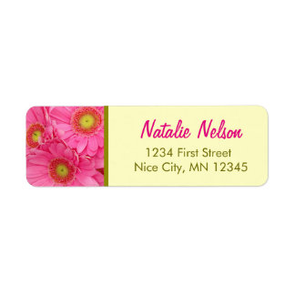 Pink Gerber Daisies Colorful Floral Wedding Label