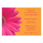 Pink Gerber Daisy and Orange Wedding Invitation