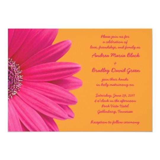 Hot Pink Gerbera Daisy White Wedding Invitation 5 X 7: Pink Gerber Daisy And Orange Wedding Invitation