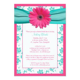 Pink Gerber Daisy Aqua Bridal Shower Invitation
