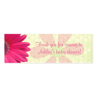 Pink Gerber Daisy Baby Shower Favor Tags Double-Sided Mini Business Cards (Pack Of 20)