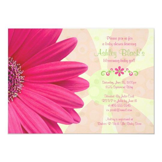 Pink Gerber Daisy Baby Shower Invitation