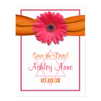 Pink Gerber Daisy Bat Mitzvah Save the Date Postcard