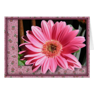 Pink Gerber Daisy Birthday Card (Large Print)