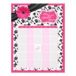 Pink Gerber Daisy Black Floral Bridal Shower Bingo Letterhead Design