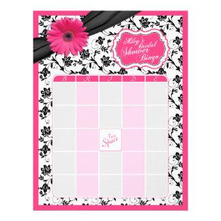Pink Gerber Daisy Black Floral Bridal Shower Bingo Letterhead