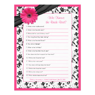 Pink Gerber Daisy Black Floral Bridal Shower Game Letterhead