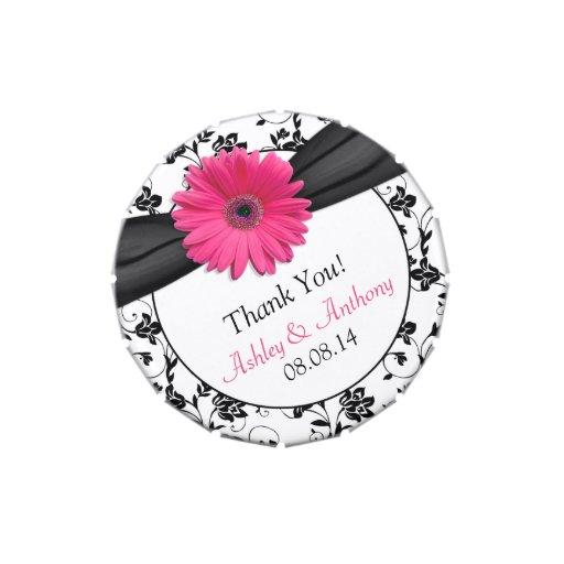 Pink Gerber Daisy Black Floral Wedding Candy Tin