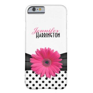 Pink Gerber Daisy Black Polka Dot iPhone 6 case