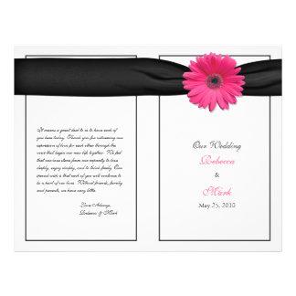 Pink Gerber Daisy Black Ribbon Wedding Program