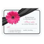 Pink Gerber Daisy Black Ribbon Wedding RSVP 3.5x5 Paper Invitation Card
