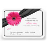 Pink Gerber Daisy Black Ribbon Wedding RSVP Personalized Invite