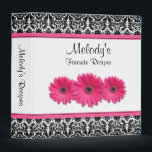 """Pink Gerber Daisy Black White Damask Recipe Binder<br><div class=""""desc"""">The text on this chic black and white floral damask pink gerbera daisy recipe binder is fully customizable. Really, it can be used as any kind of binder. Some suggestions are a journal, a wedding album binder, a wedding planning binder, a school binder, etc. All you need to do is...</div>"""