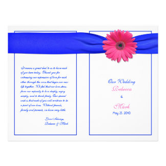Pink Gerber Daisy Blue Ribbon Wedding Program