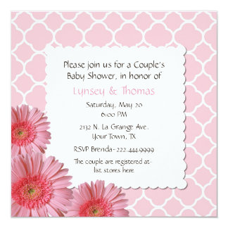 Pink Gerber Daisy Couple's Baby Shower Invitation