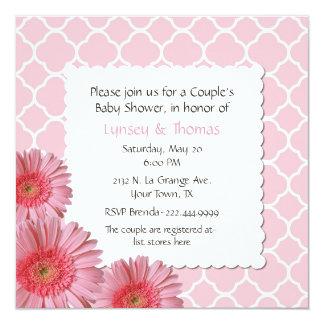 "Pink Gerber Daisy Couple's Baby Shower Invitation 5.25"" Square Invitation Card"